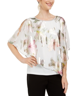 Msk Cross-Back Floral Overlay Top