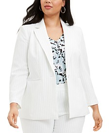 Plus Size Pinstriped Single-Button Blazer