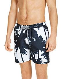 "INC Men's Kai Abstract Palm Tree 5"" Swim Trunks, Created for Macy's"