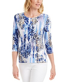 Petite Tiger-Print Jacquard Top, Created for Macy's