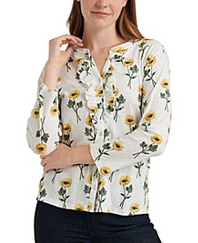 Ruffled Sunflower Printed Henley Top