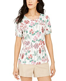 Floral-Print Buttoned-Cuff Top