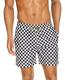 "INC Men's Zane Checkerboard 5"" Swim Trunks, Created for Macy's"