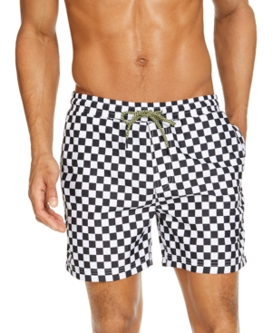 Vintage Men's Swimsuits – 1930s to 1970s History Inc Mens Zane Checkerboard 15 Swim Trunks Created for Macys $16.99 AT vintagedancer.com