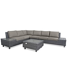 Lake Toba Aluminum Outdoor 5-Pc. Sectional Seating Set (1 Left Sectional Unit, 1 Corner Unit, 1 Middle Unit, 1 Right Sectional Unit & 1 Coffee Table), Created for Macy's