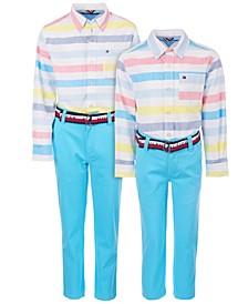 Little & Big Boys Xander Striped Shirt & David Stretch Blue Pants Separates