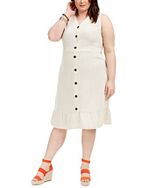 Trendy Plus Size Button-Down Flounce Midi Dress