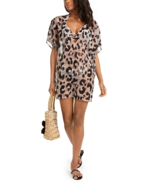 Leopard-Print Tunic Cover-Up