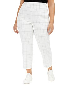 Trendy Plus Size Windowpane-Print Pants, Created for Macy's