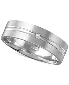 Men's Diamond Accent Polished Band in White Gold