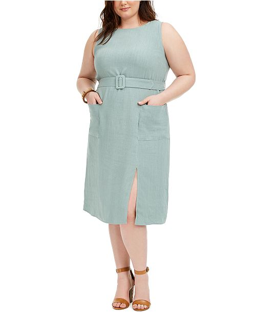 Monteau Trendy Plus Size Belted Midi Dress