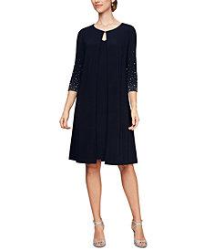 Alex Evenings Petite Embellished-Sleeve Jacket Dress