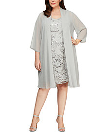 Alex Evenings Plus Size Embroidered Dress & Long Jacket