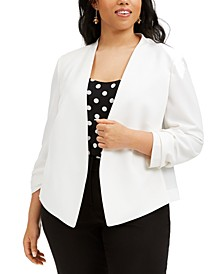 Trendy Plus Size Ruched-Sleeve Jacket, Created for Macy's