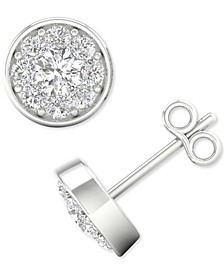 Lab-Created Diamond Halo Stud Earrings (1/2 ct. t.w.) in Sterling Silver