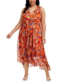 Plus Size Floral Chiffon Surplice Midi Dress