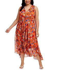 Calvin Klein Plus Size Floral Chiffon Surplice Midi Dress