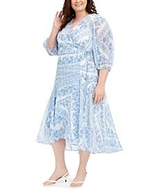Plus Size Bandana-Print Wrap Dress