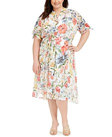 Plus Size Floral-Print Shirtdress