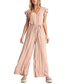 Juniors' Hearts Game Ruffle-Sleeve Jumpsuit