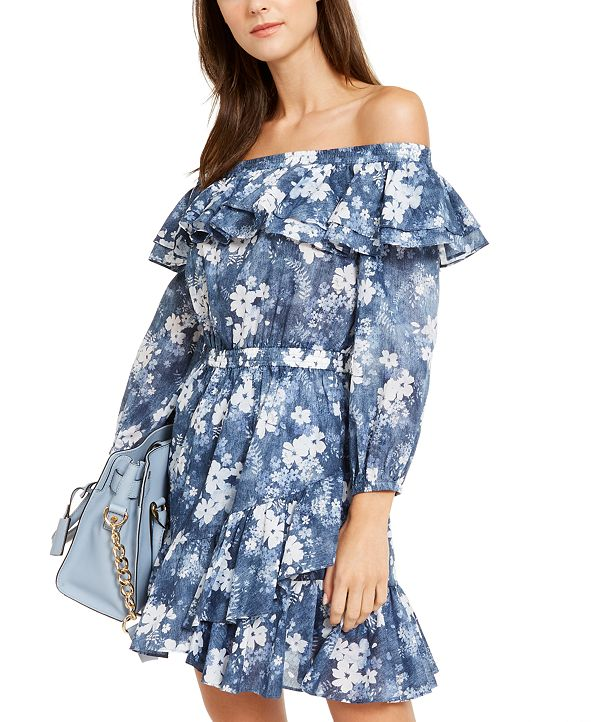 Michael Kors Cotton Ruffled Off-The-Shoulder Dress