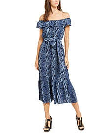 On-Or-Off-Shoulder Printed Dress