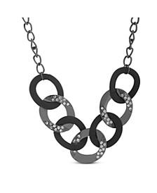 Rhinestone Black Curb Chain Necklace