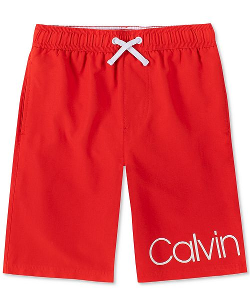 Calvin Klein Big Boys Signature Swim Trunks