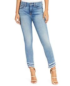 Raw-Hem Skinny Ankle Jeans