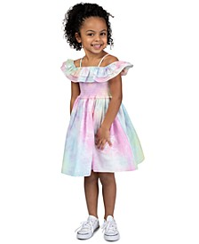 Toddler Girls Tie-Dye Off-The-Shoulder Dress