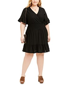 Plus Size Eyelet Smocked Dress