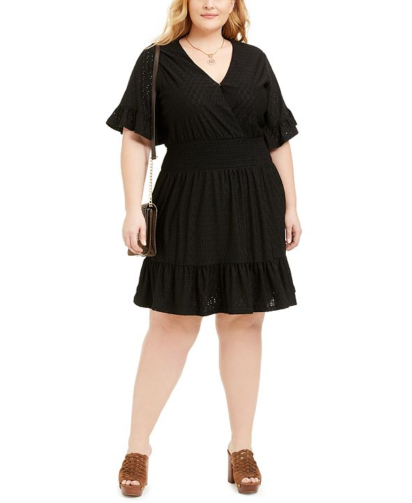 Michael Kors Plus Size Eyelet Smocked Dress