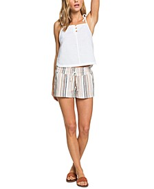 Juniors' Oceanside Striped Beach Shorts