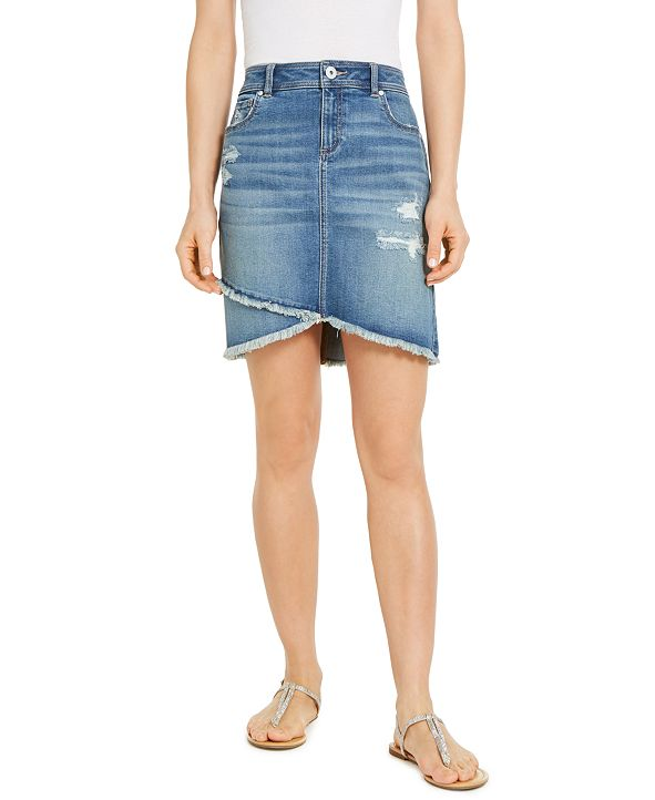 INC International Concepts INC Destructed Fray-Trim Crossover-Hem Denim Skirt, Created for Macy's