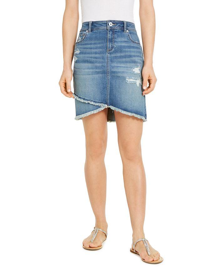 INC International Concepts - Destructed Fray-Trim Crossover-Hem Denim Skirt