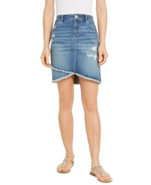 Destructed Fray-Trim Crossover-Hem Denim Skirt