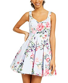 Juniors' Floral Fit & Flare Dress