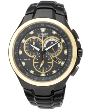 Citizen Men's Chronograph Eco-Drive Black Ion-Plated Stainless Steel Bracelet Watch 42mm AT0908-52E - A Macy's Exclusive