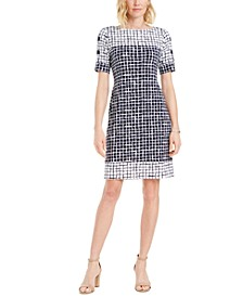 Petite Printed Lattice Sleeve Dress, Created for Macy's