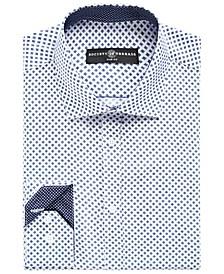 Men's Slim-Fit No-Iron Stretch Square Print Dress Shirt