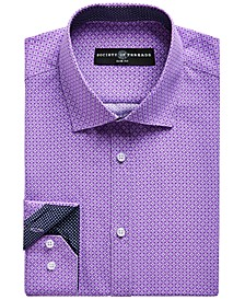 Men's Slim-Fit No-Iron Stretch Geo Print Dress Shirt