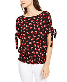 Petal-Print Tie-Sleeve Top, Regular & Petite Sizes