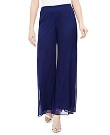 Mesh Wide-Leg Dress Pants, Regular & Petite Sizes
