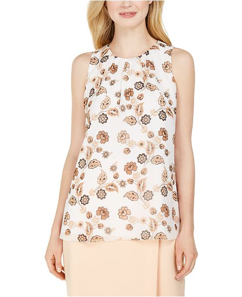 Calvin Klein Sleeveless Pleat-Neck Blouse