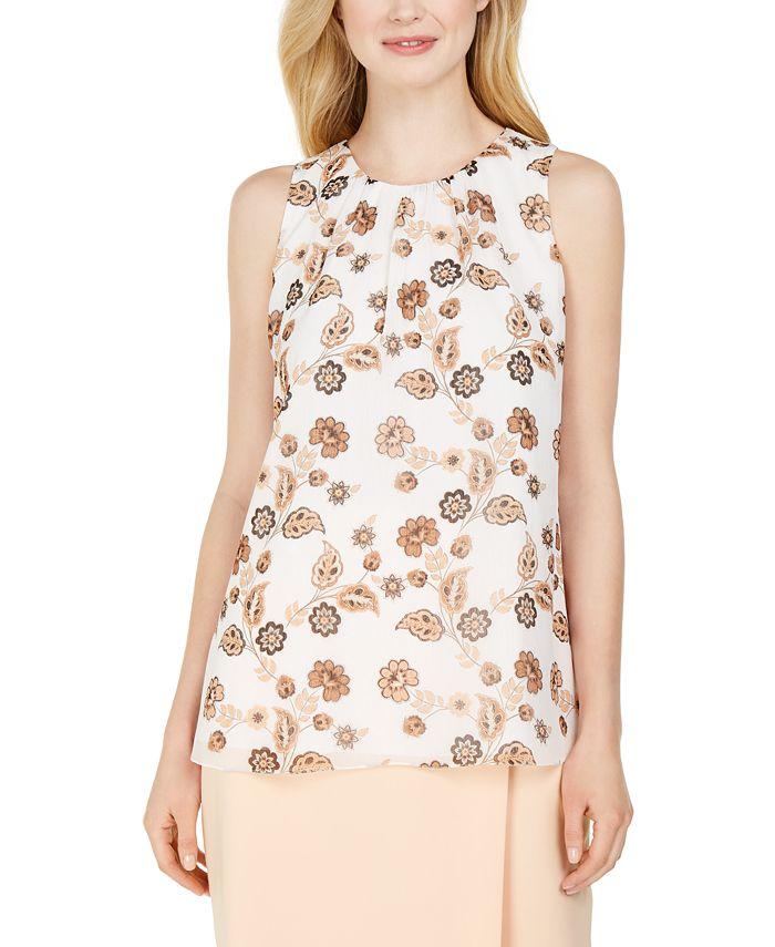 Calvin Klein - Petite Sleeveless Pleat-Front Blouse