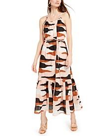 Cotton Desert Camo Flounce Maxi Dress