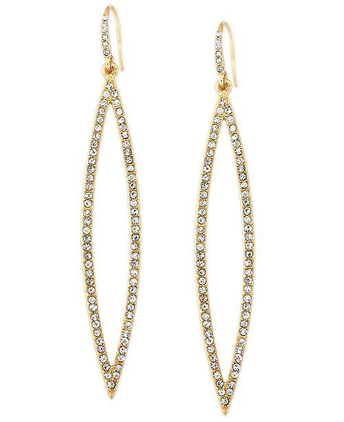 ABS by Allen Schwartz Earrings, Gold-Tone Pave Crystal Marquise Drop Earrings
