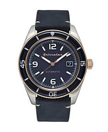 Men's Fleuss Automatic Blue Genuine Leather Strap Watch 43mm