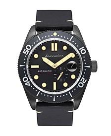 Men's Croft Automatic Black Genuine Leather Strap Watch 43mm