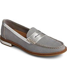 Seaport Penny Plushwave Saffiano Leather Loafer